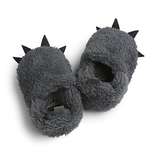 DREAMOWL Baby Wolf Paw Slippers Faux Fur Bear-Fuzzy Claw Slippers for Babies Toddlers Shower Gift (6-12 Months, Grey)