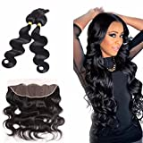 Cheap Braid in Bundles With Lace Frontal 2Bundles Brazilian Body Wave Human Hair With 13×4 Ear to Ear Free Part Frontal Natural Color Hair Extensions