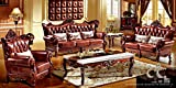 Ma Xiaoying Antique Furniture, European Classical Living Room Sets,Leather and Luxury Collection 3pcs:(Sofa ,Chair and Loveseat and all pillows) ,Reddish Brown by Ma Xiaoying