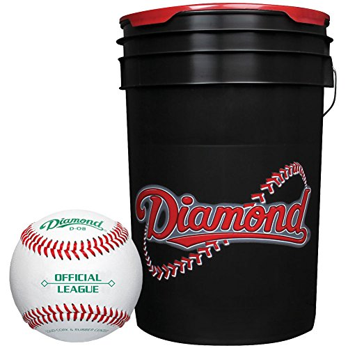 Diamond 6-Gallon Ball Bucket with 30 DOB Baseballs, (Black Ball Bucket)