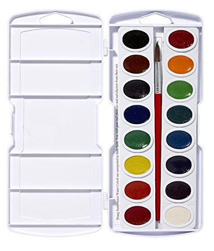 Pak Natural - Prang Oval Pan Watercolor Set, 16 Classic Colors with No. 9 Brush (16000)