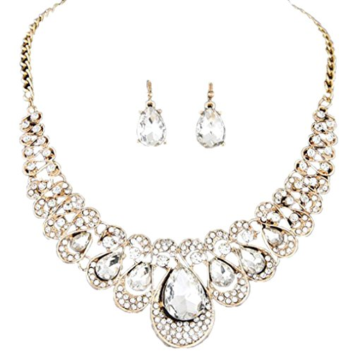 Deals Necklace+Earrings Jewelry Set Womens Mixed Style Bohemia Color Bib Chain Necklace Earrings Jewelry by ZYooh (Clear)