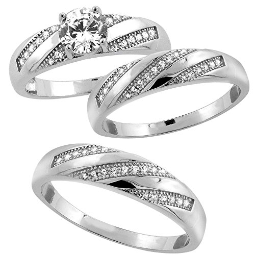 Sterling Silver Micro Zirconia Wedding
