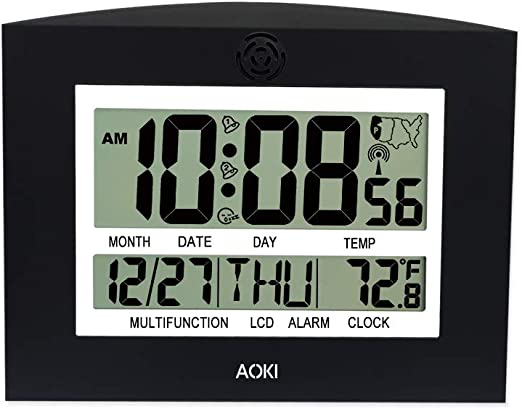 Radio Controlled White Travel Clock Alarm Date Day Temperature 4 Time Zones New!