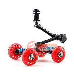 Zeadio ZVDM-0311 Red Tabletop Portable Skater Dolly Car + 11\