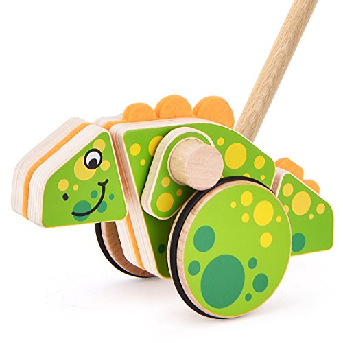- Safe&Care Baby Toddler Push Along Toys, Push Pull Wooden Toy 23 Inch Natural, Non Toxic Walking Toys for Baby Toddlers Kids and Children Push Pull Along Dinosaur(Green)