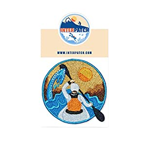 Adventure Kayaking Graphic Embroidered Patch Badge Sew On