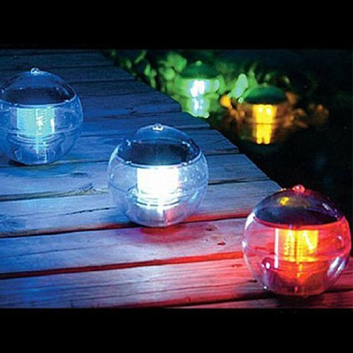 Qkking Solar Power Waterproof Automatic Color Changing LED 7 Colors Floating swimming Globe Pool Party Ball Light Decor (pool light)