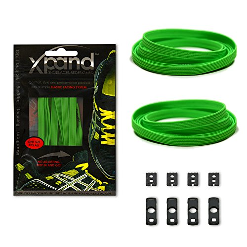 (Xpand No Tie Shoelaces System with Elastic Laces - Clover - One Size Fits All Adult and Kids Shoes)