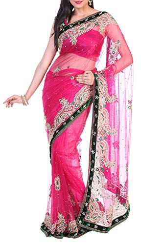 Saree Pink Chiffon Designer Ethnic Wear Exclusive Indian nxqvwYI0pR