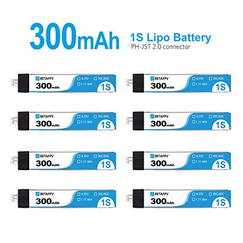 8pcs Remote /& App Controlled Vehicle Batteries 300mAh HV 1S Lipo Battery 30C 2.0