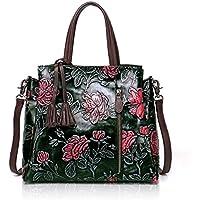APHISON Designer Unique Embossed Floral Cowhide Leather Tote Style Ladies Top Handle Bags Handbag
