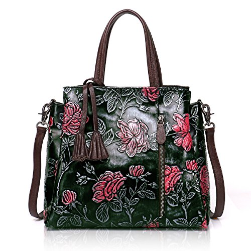 APHISON Designer Unique Embossed Floral Cowhide Leather Tote Style Ladies Top Handle Bags Handbags - Leather Tote Cowhide