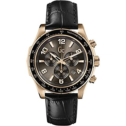Guess Collection TechnoSport X51001G1S 44mm Gold Plated Stainless Steel Case Black Calfskin Synthetic Sapphire Men's - Chronograph Synthetic Sapphire