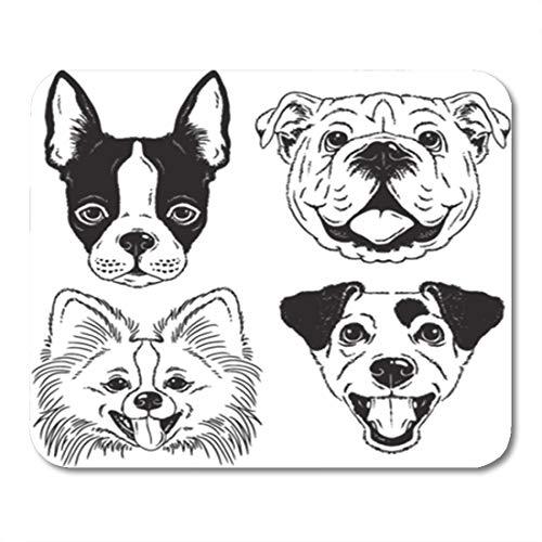 Semtomn Gaming Mouse Pad Dog Faces Boston Terrier English Bulldog Toy Pomeranian 9.5