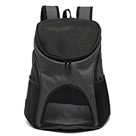 Yosoo Pet Carrier Premium Travel Outdoor Mesh Backpack Carry Bag Accessory Dog Cat Rabbit Small Pets Cage House (Black)