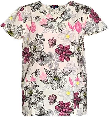 Womens Fashion Medical Nursing Scrub Print Tops Blue Base Embroidery flowers XL