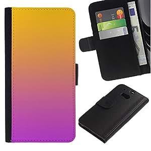 For HTC One M8,S-type® Gradient Colors Orange Pink Purple - Dibujo PU billetera de cuero Funda Case Caso de la piel de la bolsa protectora