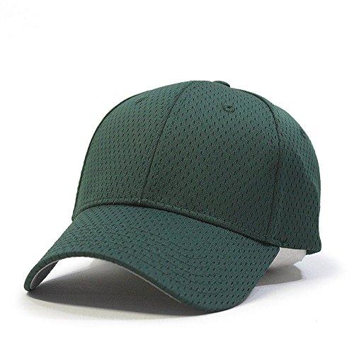 Plain Pro Cool Mesh Low Profile Baseball Cap with Adjustable Velcro (Dark Green) - Dark Green Mesh Cap