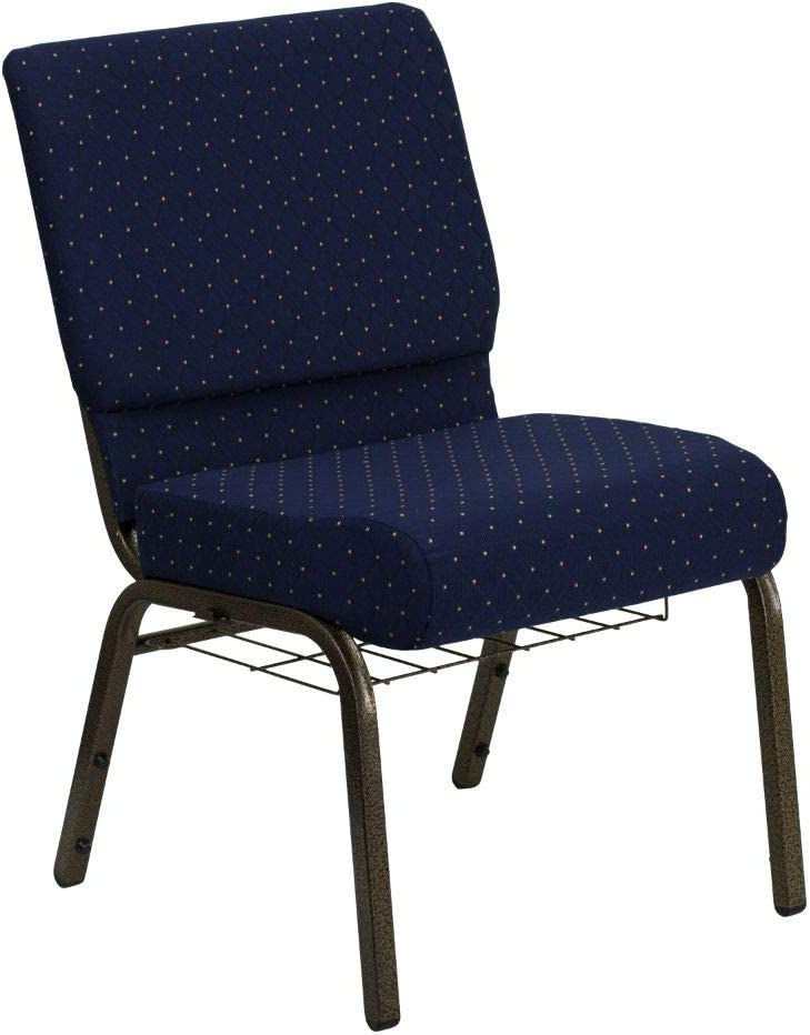 Flash Furniture HERCULES Series 21''W Church Chair in Navy Blue Dot Patterned Fabric with Book Rack - Gold Vein Frame