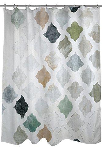 Tile Edge Linen (Manual Woodworkers & Weavers Shower Curtain, Turkish Tile 1)