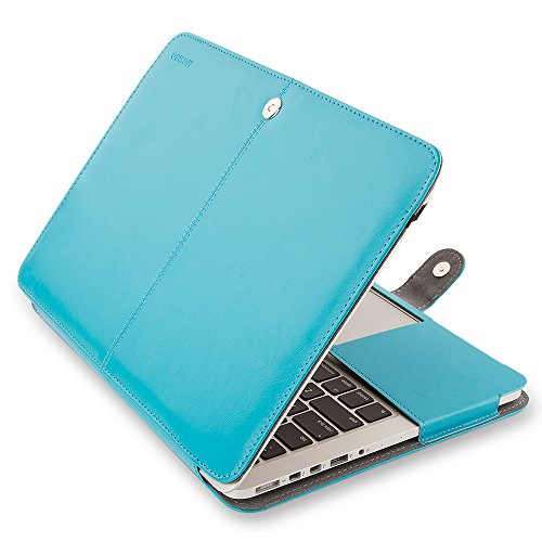 Mosiso Premium Quality PU Leather Book Cover Folio Case with Stand Function for MacBook Pro 15 Inch with Retina Display (Model: A1398), Blue (Macbook Pro 2014 Case 15 Inch)