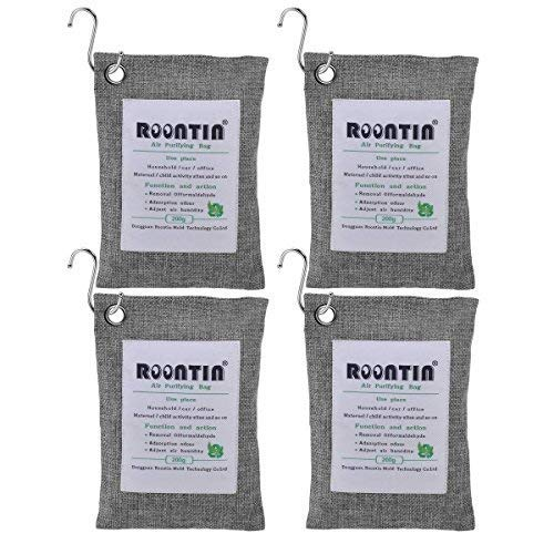 Roontin Air Purifying Bag, 4 Pack x 200G Bamboo Activated Charcoal Air Fresheners Deodorizer Odor Neutralizer Air Purifier Bags for Fridge, Cars, Kitchen, Bathroom, Closets, with 4 Hooks