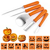 Halloween Pumpkin Carving Kit DIY Fruits Vegetables Pumpkin Lamp,Set of 5 Pieces Stainless Steel Kitchenware