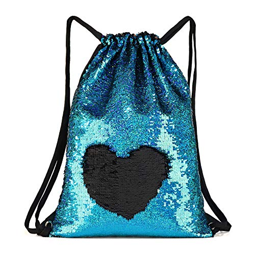 Mermaid Reversible Sequin Bags Purse for Girls, Flip Sparkle Sequin Duffel Bag Drawstring Backpack Perfect Gifts Suitable for Travel Gym Dance Overnight and Daily Use …
