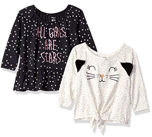 - Gerber Baby Girls' 2-Pack Tops, Leopard/Stars, 18 Months