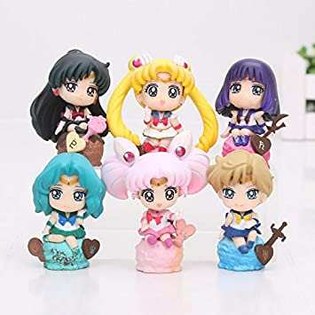 Anime Sailor Moon Set 6 Figure 4-6CM Toy New in Box Serise 1 #A