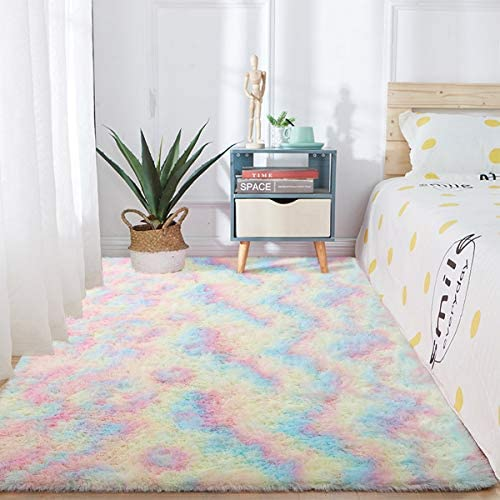 51hkM 2JQ2L. AC - Junovo Soft Rainbow Area Rugs For Girls Room, Fluffy Colorful Rugs Cute Floor Carpets Shaggy Playing Mat For Kids Baby Girls Bedroom Nursery Home Decor, 4ft X 6ft