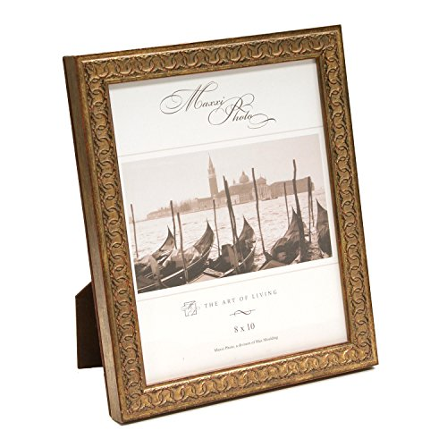 Maxxi Designs Photo Frame with Easel Back, 4 x 6, Antique Gold Leaf Wood San Marco