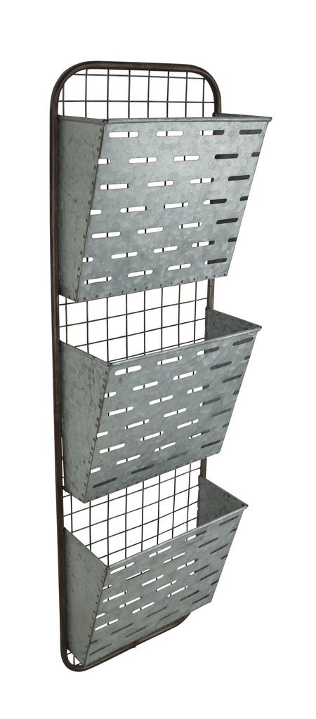 Cheung's Galvanized Metal 3 Tier Wall Decor with Slatted Metal Pockets