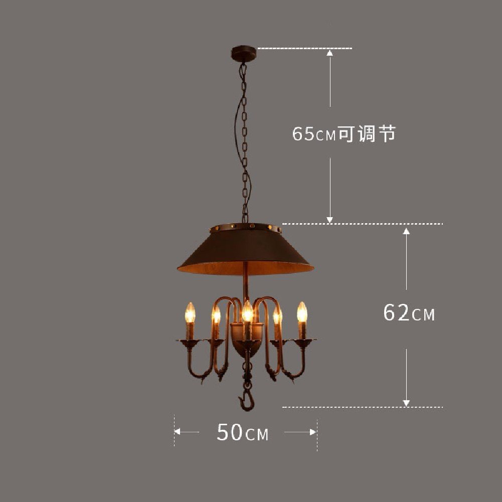 HQLCX Chandelier American Style Retro Loft Industrial Wind Bar Restaurant Iron Chandelier,A by HQLCX-Chandeliers