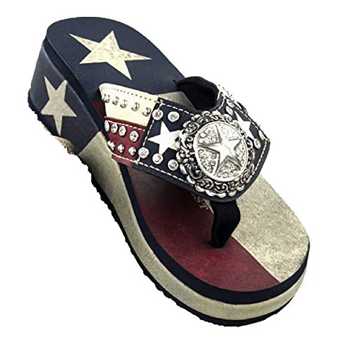 Montana West Lone Star Texas USA Patriotic Flip Flops Sandals Shoes Jp Red Blue (9) -