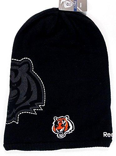 (Reebok NFL Licensed Long Onfield Fleeced Lined Beanie Hat Cap Lid Toque (Cincinnati Bengals))