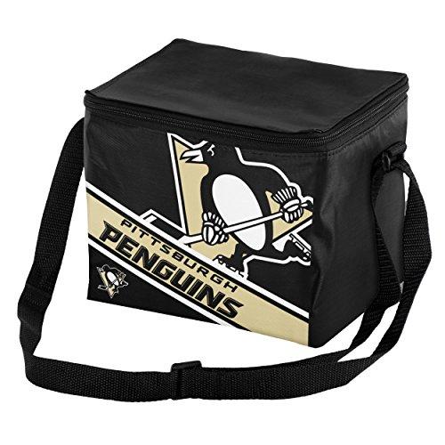 FOCO Pittsburgh Penguins Big Logo Stripe 6 Pack Cooler - Penguins Lunch Bag