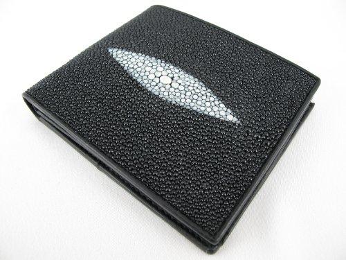 PELGIO Genuine Stingray Skin Leather Bifold Wallet Black ()