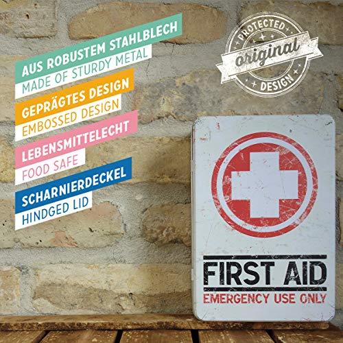 Nostalgic-Art Boîte en Fer Blanc Plate Style rétro pour kit de Premiers Secours Imprimé First Aid 23 x 16 x 7 cm 4