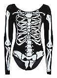 Women Ladies Long Sleeve Bodycon Halloween Skeleton Skull Bone Print Jumpsuit (M/L(10-12), Black)