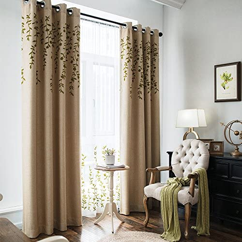 Melodieux Flower Embroidery Faux Linen Blackout Wide Curtain