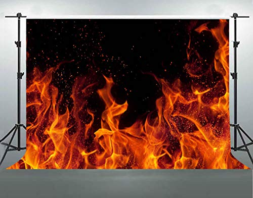 F-FUN SOUL Burning Fire Backdrop Cotton Cloth Flame Dark Black Photography Backgrounds Themed Party Portrait Photo Studio Props Banner Decoration -
