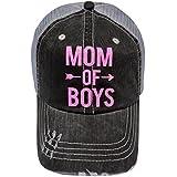 Neon Pink Glitter Mom of Boys/Girls Distressed Look Grey Trucker Cap