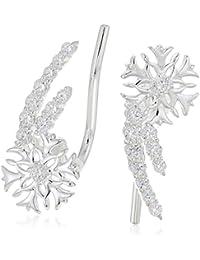 snowflake climber earrings - swarovski zirconia earrings