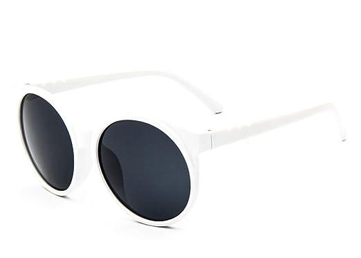 f1f45b0e9de Flowertree Women s S5057 Full Frame Iridium Coated Mirrored Lens Round 58mm  Sunglasses (white+grey