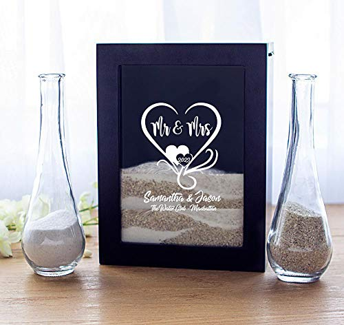 RaeBella & Cathys Concepts Engraved Black Unity Sand Ceremony Shadow Box Set Personalized Wedding Heart Mr Mrs with Names Date
