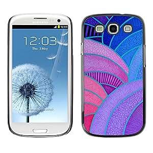 TopCaseStore / la caja del caucho duro de la cubierta de protección de la piel - Lines Painting Vitrine Purple Red Blue - Samsung Galaxy S3 I9300
