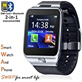 Indigi SWAP 2-in-1 Gear SmartWatch & Phone + Bluetooth Sync + Optional SIM + SMS Notify (Android or iOS Compatible)