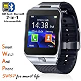 Indigi SW-SWAP-10 New GSM Wireless Smartwatch & Phone + SMS notification + Sleep/Step Monitor (iOS Android Compatible) - Silver